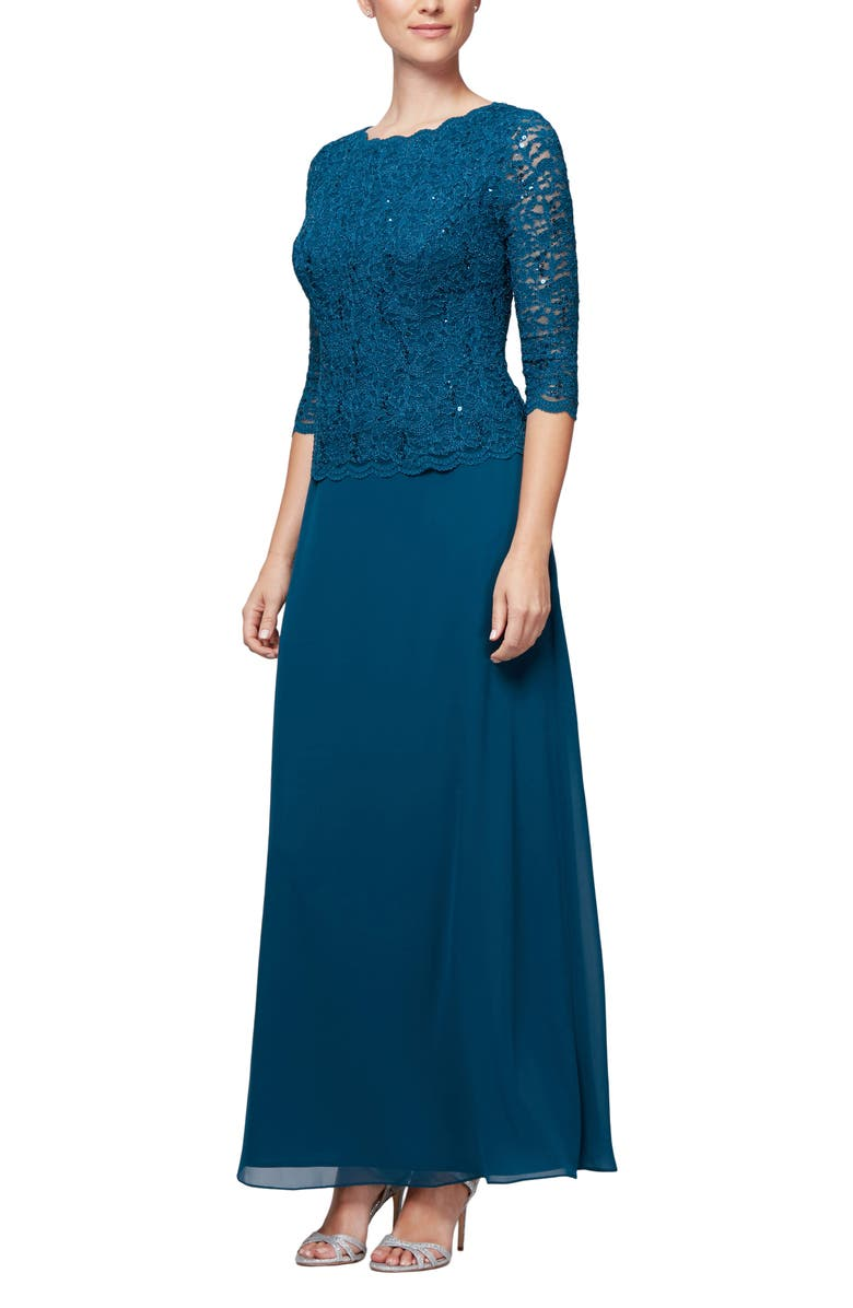 ALEX EVENINGS Sequin Lace & Chiffon Gown, Main, color, PEACOCK