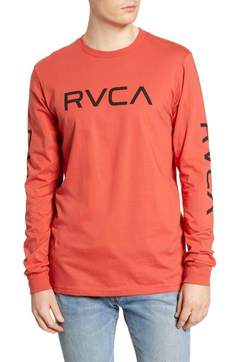 RVCA Big Logo Long Sleeve T-Shirt, Main, color, BAKED APPLE