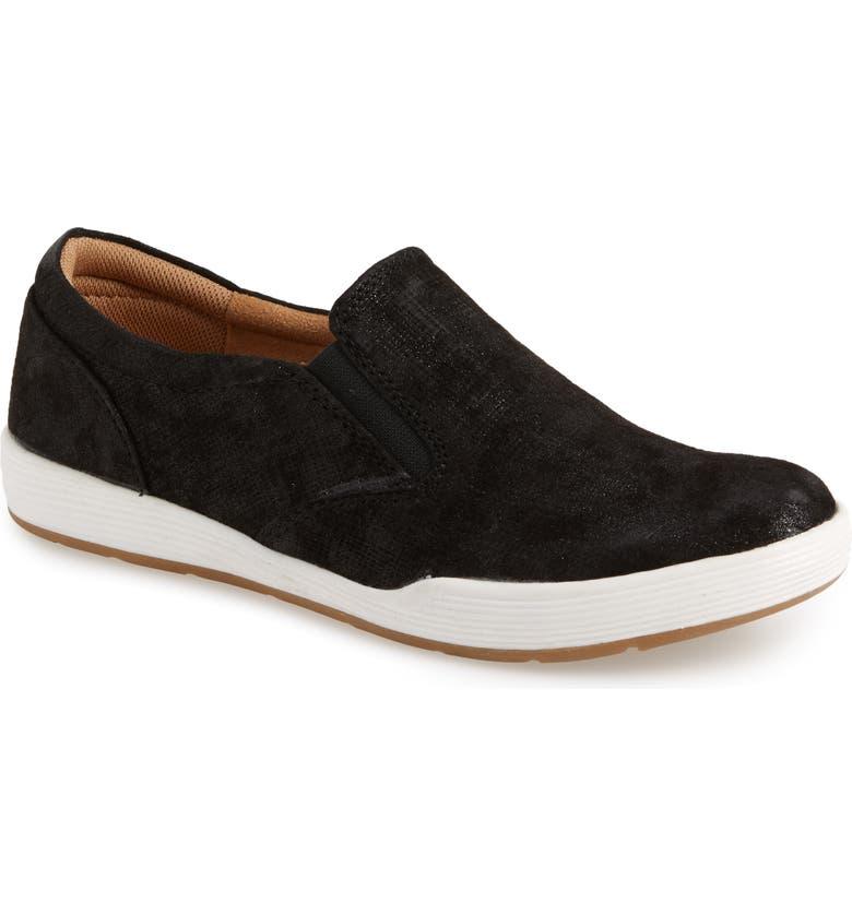 COMFORTIVA Linette Suede Slip-On Sneaker, Main, color, BLACK