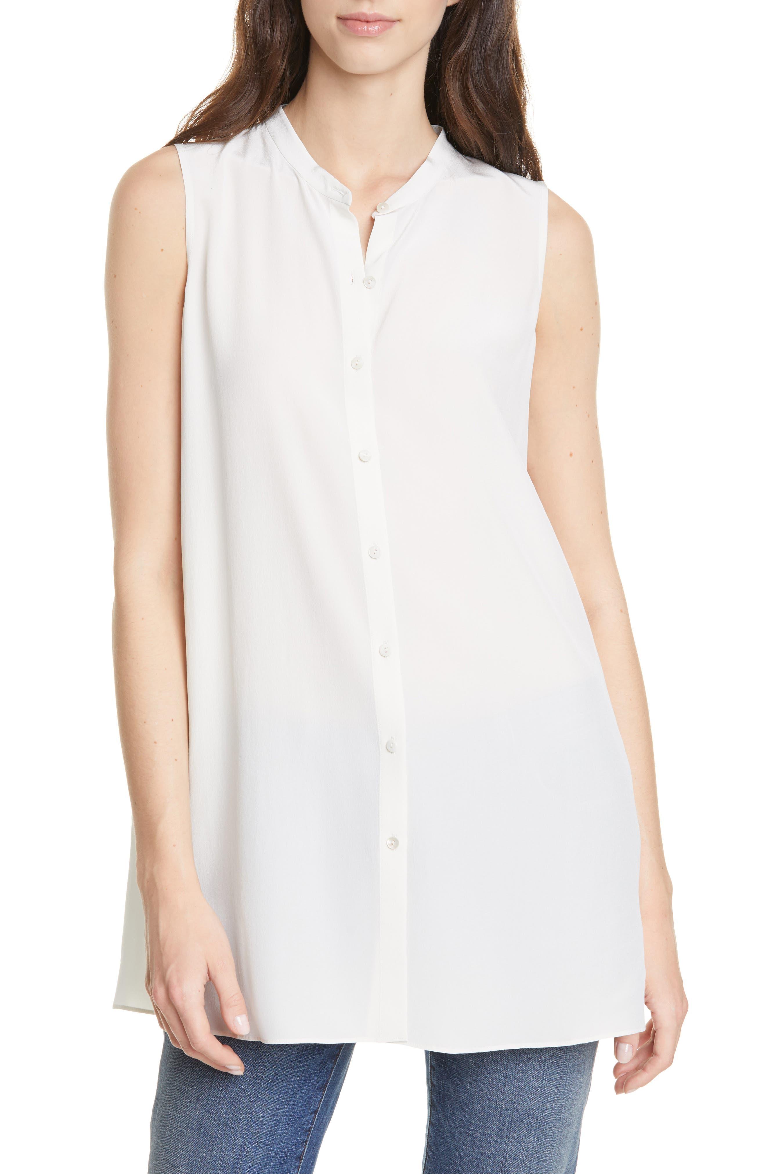 Image of Eileen Fisher Sleeveless Silk Top