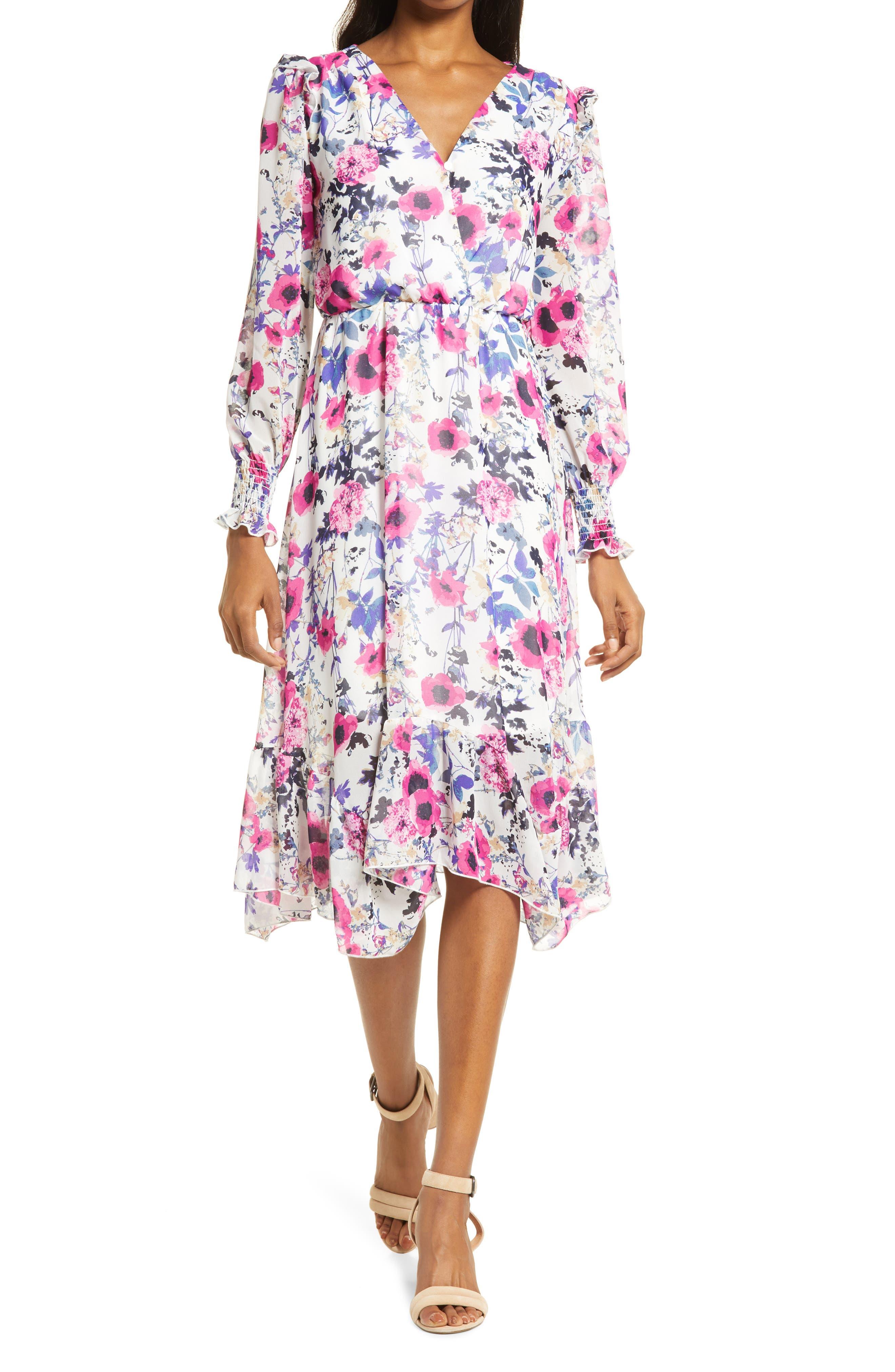 Doran Ruffle Long Sleeve Midi Dress