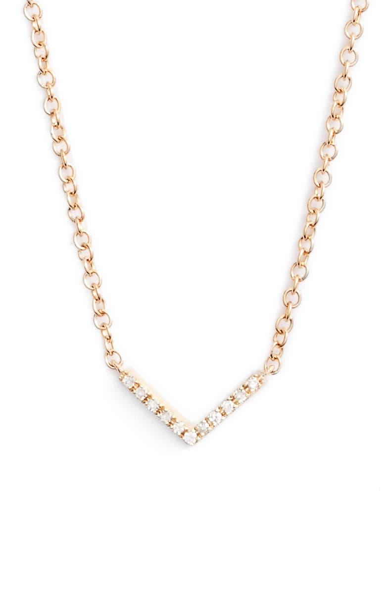 EF COLLECTION Mini Chevron Diamond Pendant Necklace, Main, color, YELLOW GOLD