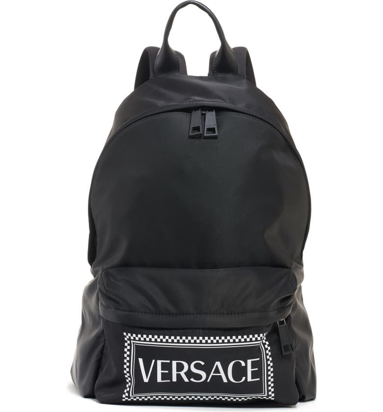 VERSACE Logo Nylon Backpack, Main, color, BLACK/ WHITE