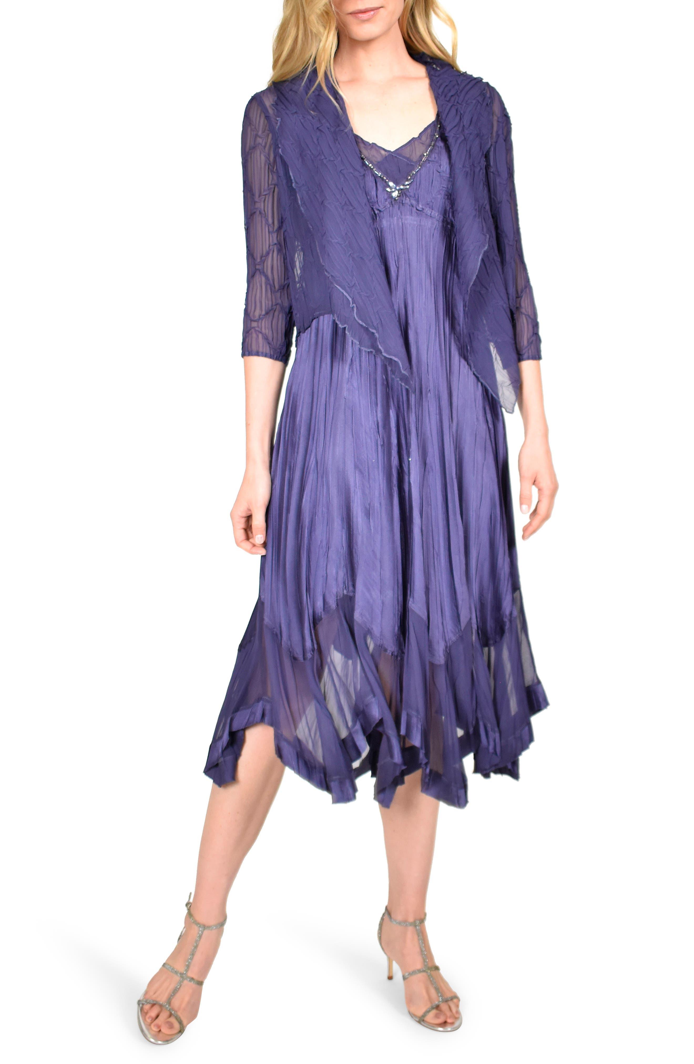 Vintage 1920s Dresses – Where to Buy Womens Komarov Beaded Neck Charmeuse Midi Dress With Chiffon Jacket $268.80 AT vintagedancer.com