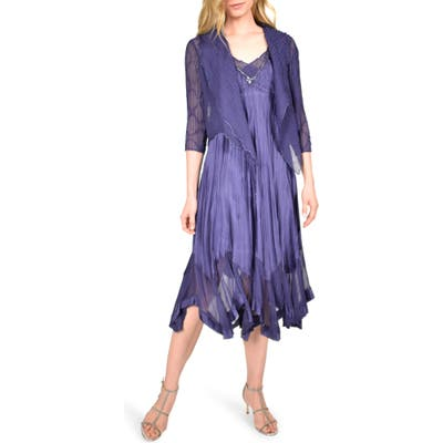Petite Komarov Beaded Neck Charmeuse Midi Dress With Chiffon Jacket, Blue