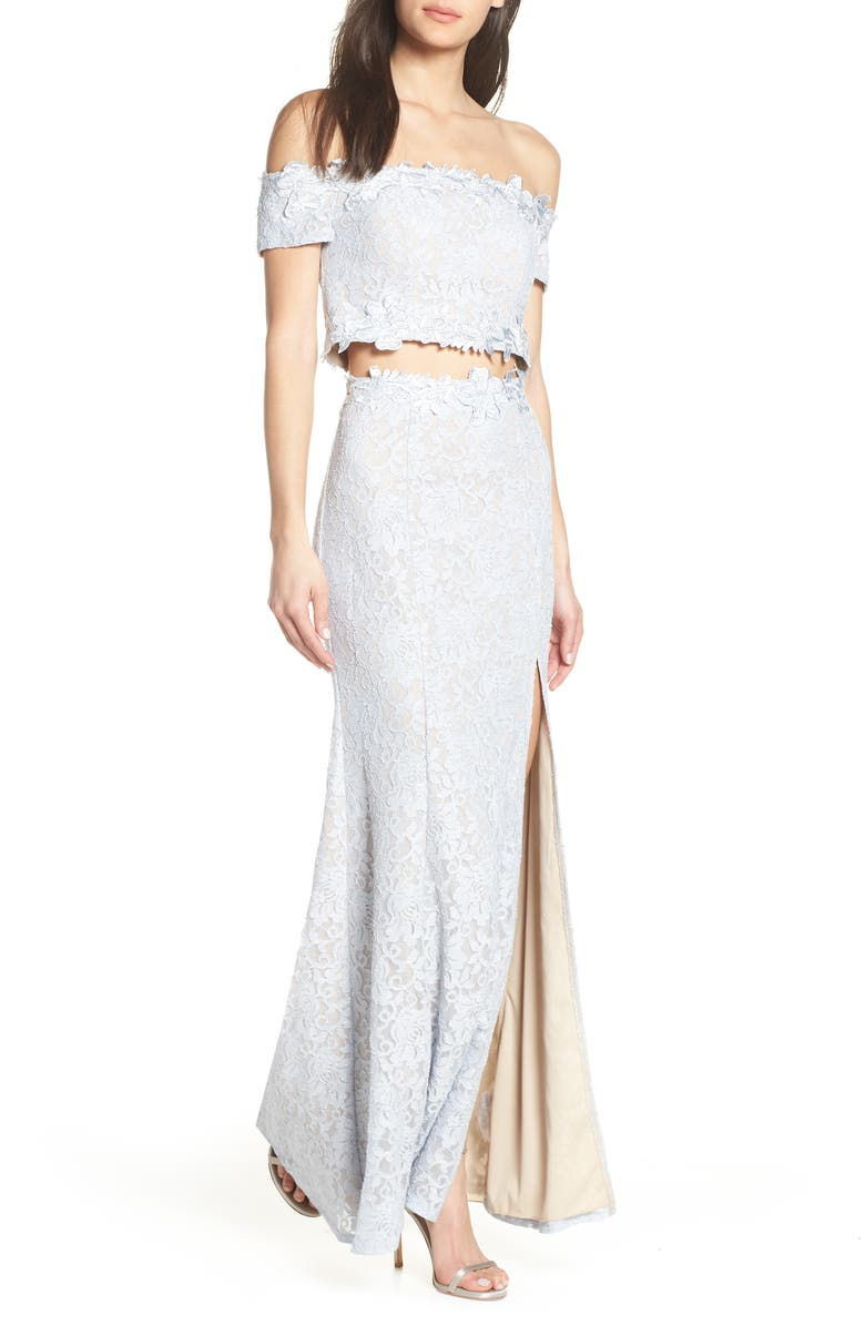 Sequin Hearts Two Piece Off The Shoulder Lace Evening Dress