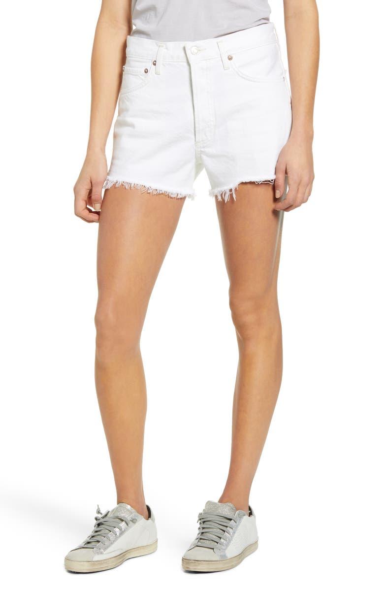 AGOLDE Parker High Waist Cutoff Denim Shorts, Main, color, TISSUE