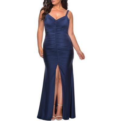 Plus Size La Femme Ruched Jersey Gown, Blue