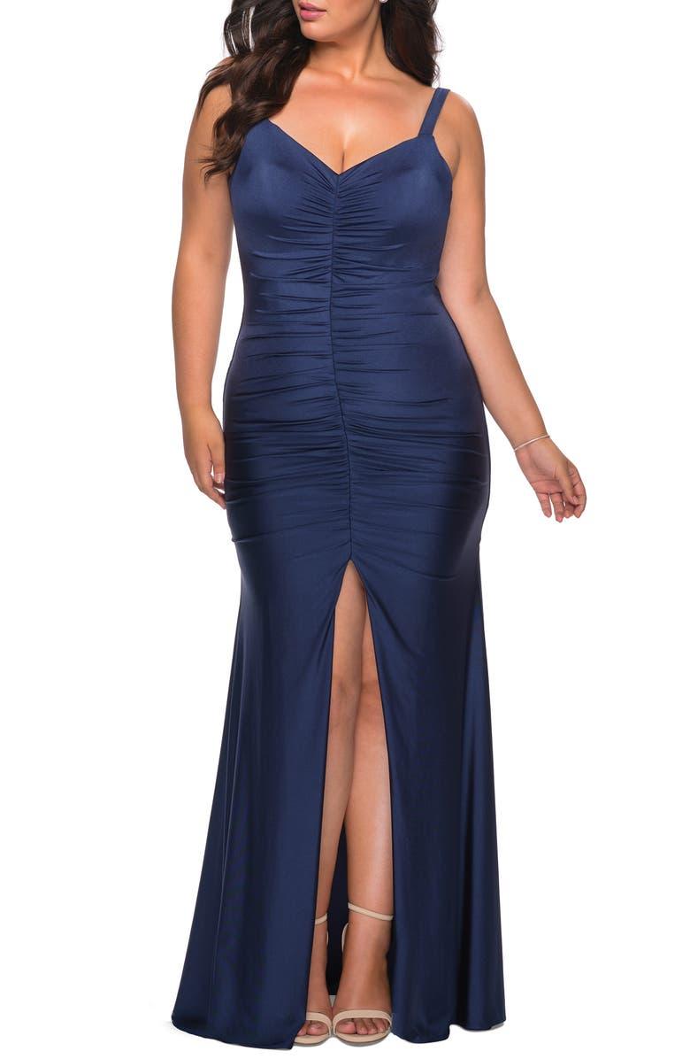 LA FEMME Ruched Jersey Gown, Main, color, 410