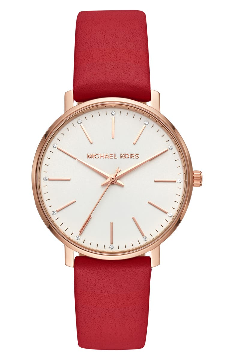 MICHAEL KORS Pyper Leather Strap Watch, 38mm, Main, color, RED/ WHITE/ ROSE GOLD