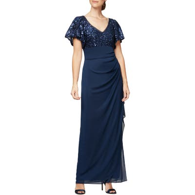 Alex Evenings Sequin Lace & Ruched Chiffon Gown, Blue