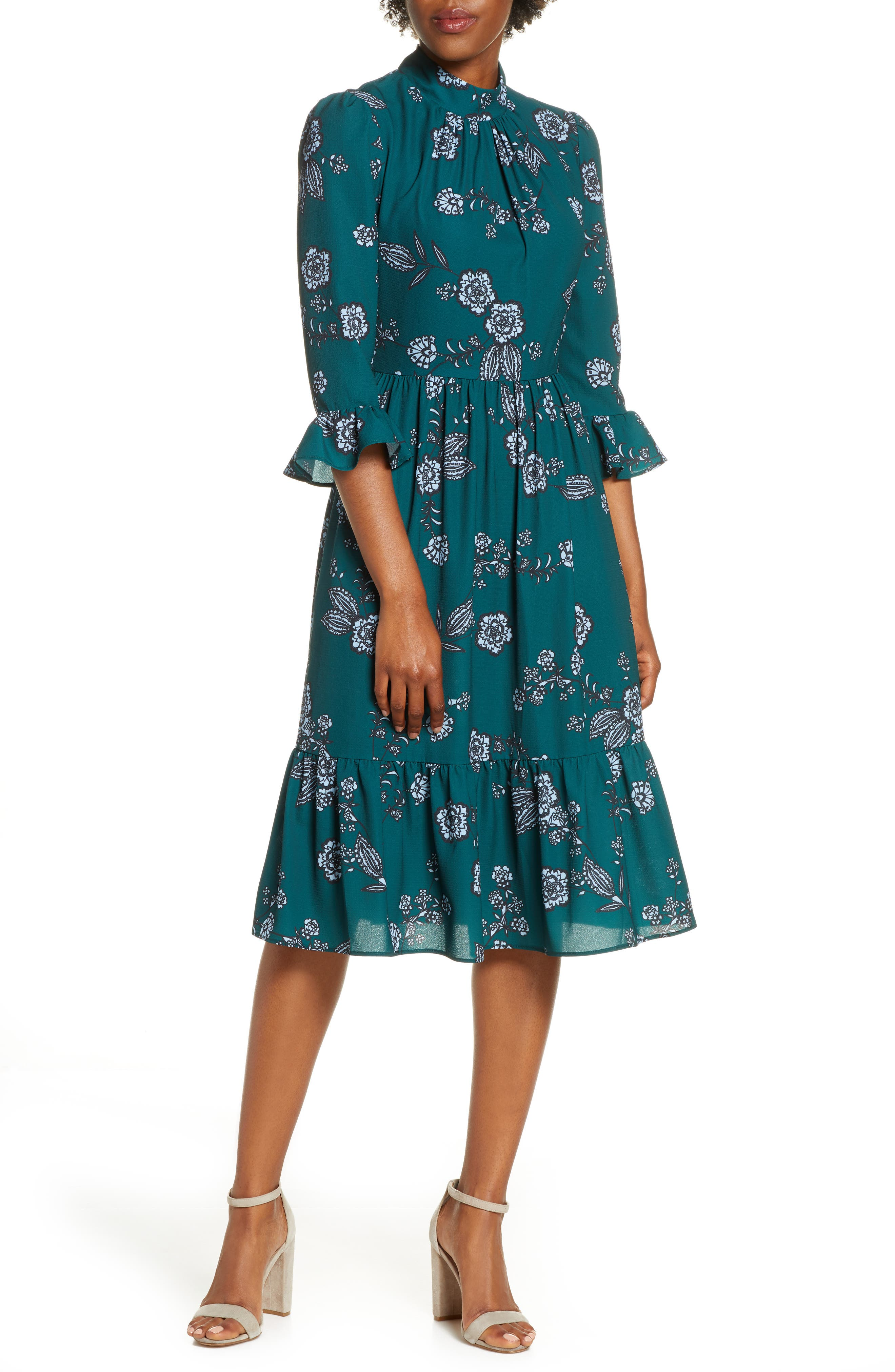 Eliza J Mock Neck Crepe Fit & Flare Dress | Nordstrom