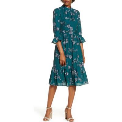 Eliza J Mock Neck Crepe Fit & Flare Dress, Green