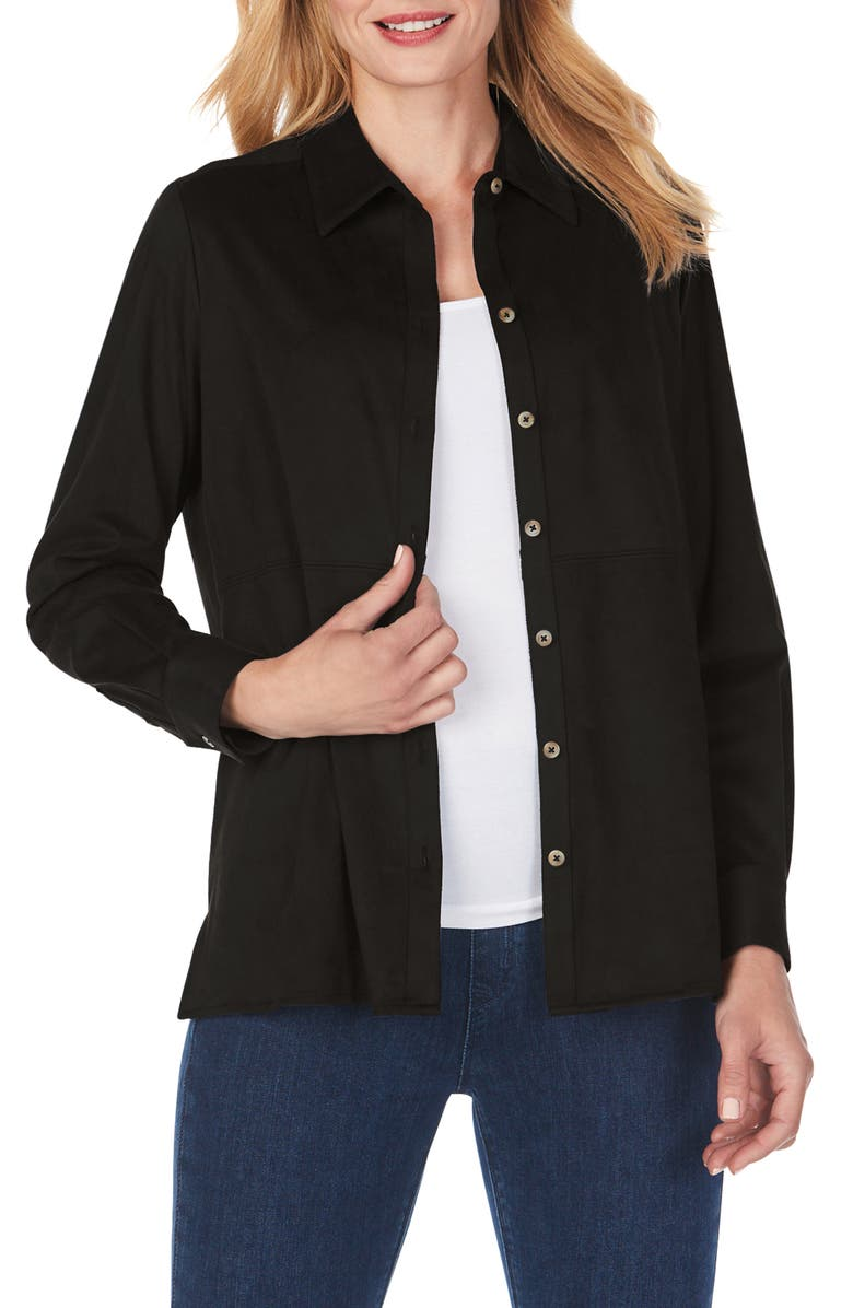 FOXCROFT Journey Faux Suede Shirt Jacket, Main, color, BLACK
