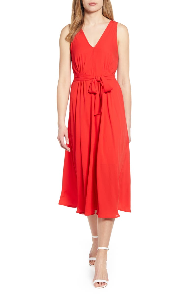 BOBEAU Riley V-Neck Pleat Dress, Main, color, AURORA/ RED