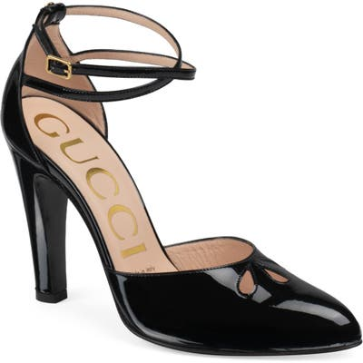 Gucci Indya Ankle Strap Cutout Pointed Toe Pump - Black