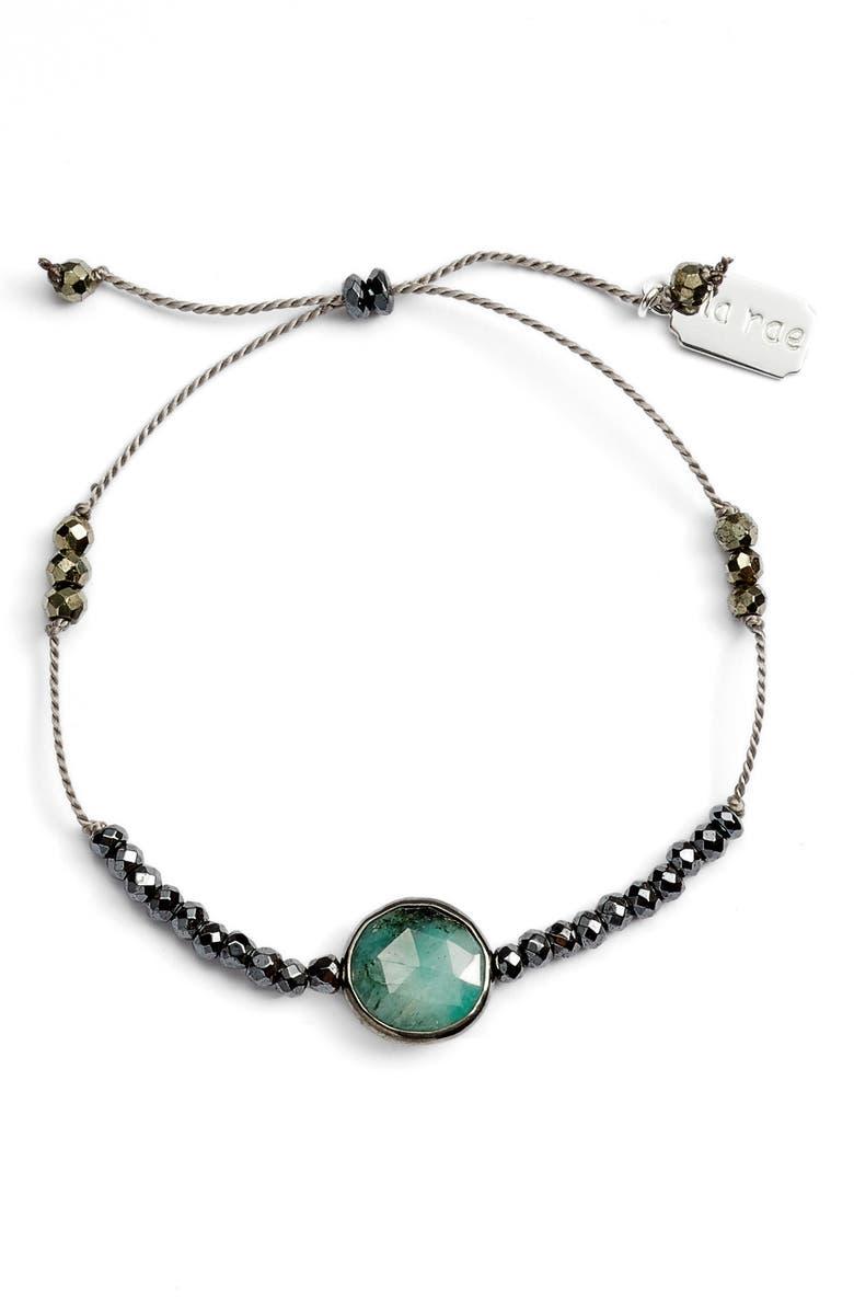 ELA RAE Sylvie Semiprecious Stone Bracelet, Main, color, GREY/ GREEN