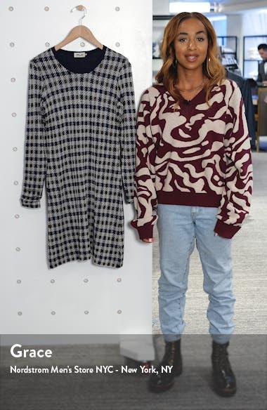 Cabana Metallic Houndstooth Check Long Sleeve Sweater Dress, sales video thumbnail