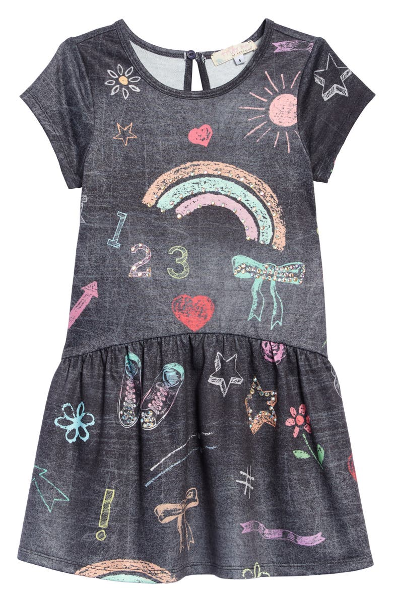 TRULY ME Chalkboard Print Dress, Main, color, CHARCOAL