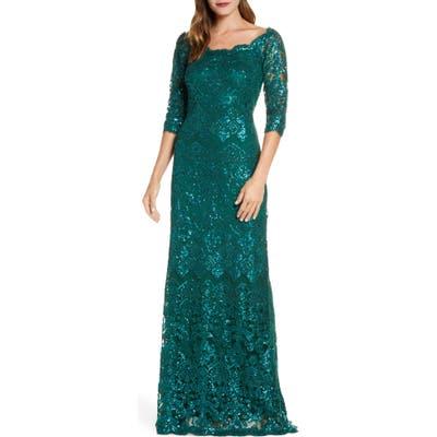 Tadashi Shoji Sequin Lace Gown, Green