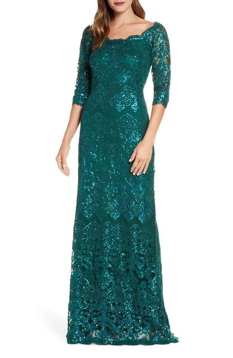 TADASHI SHOJI Sequin Lace Gown, Main, color, PINE