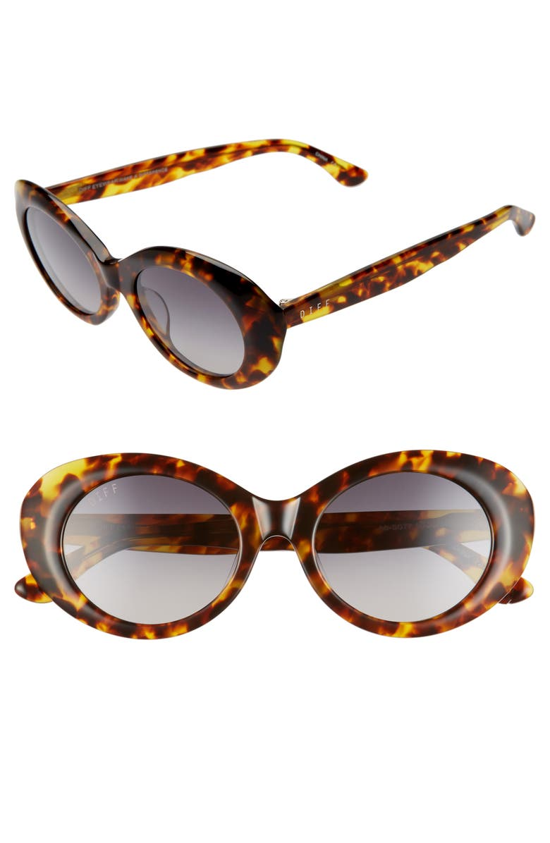 DIFF Olivia 50mm Oval Sunglasses, Main, color, AMBER TORTOISE/ GREY
