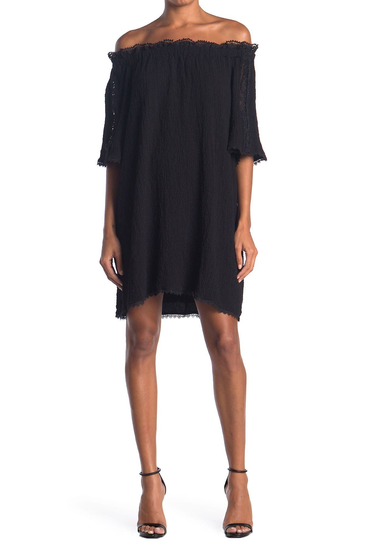 Image of HYFVE Lace Trim Off-the-Shoulder Dress