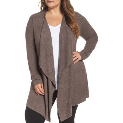 Plus Size Barefoot Dreams Cozychic Lite Calypso Wrap Cardigan, Brown (Plus Size) (Nordstrom Exclusive)