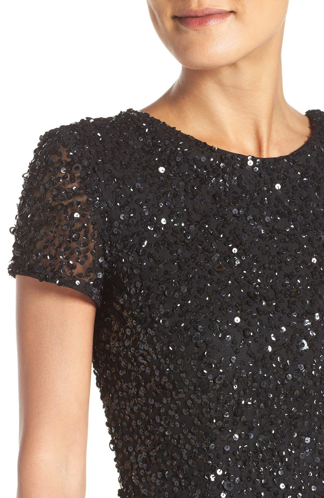 ,                             Short Sleeve Sequin Mesh Gown,                             Alternate thumbnail 5, color,                             002