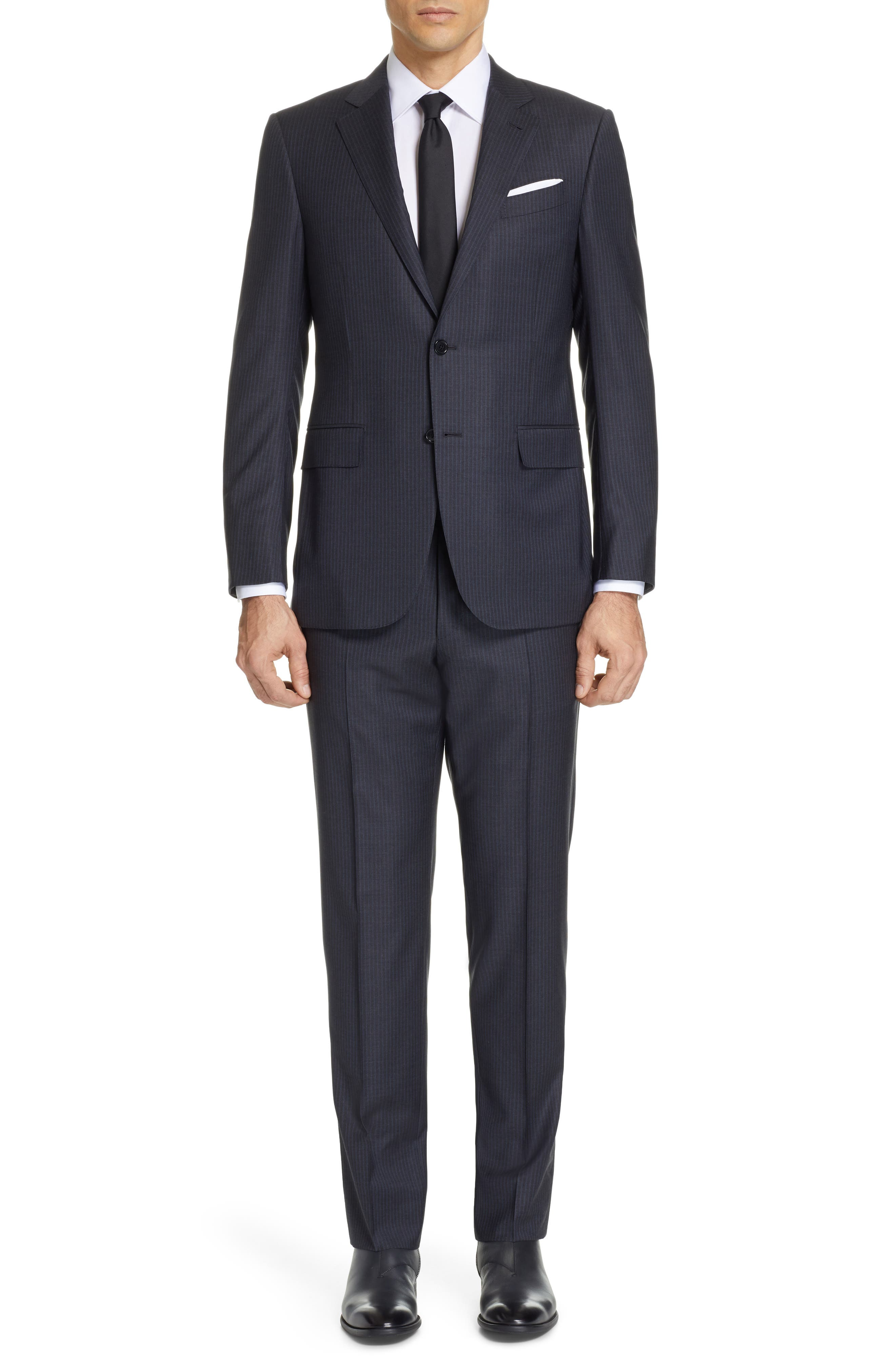 Milano Classic Fit Stripe Wool Suit, Main, color, CHARCOAL
