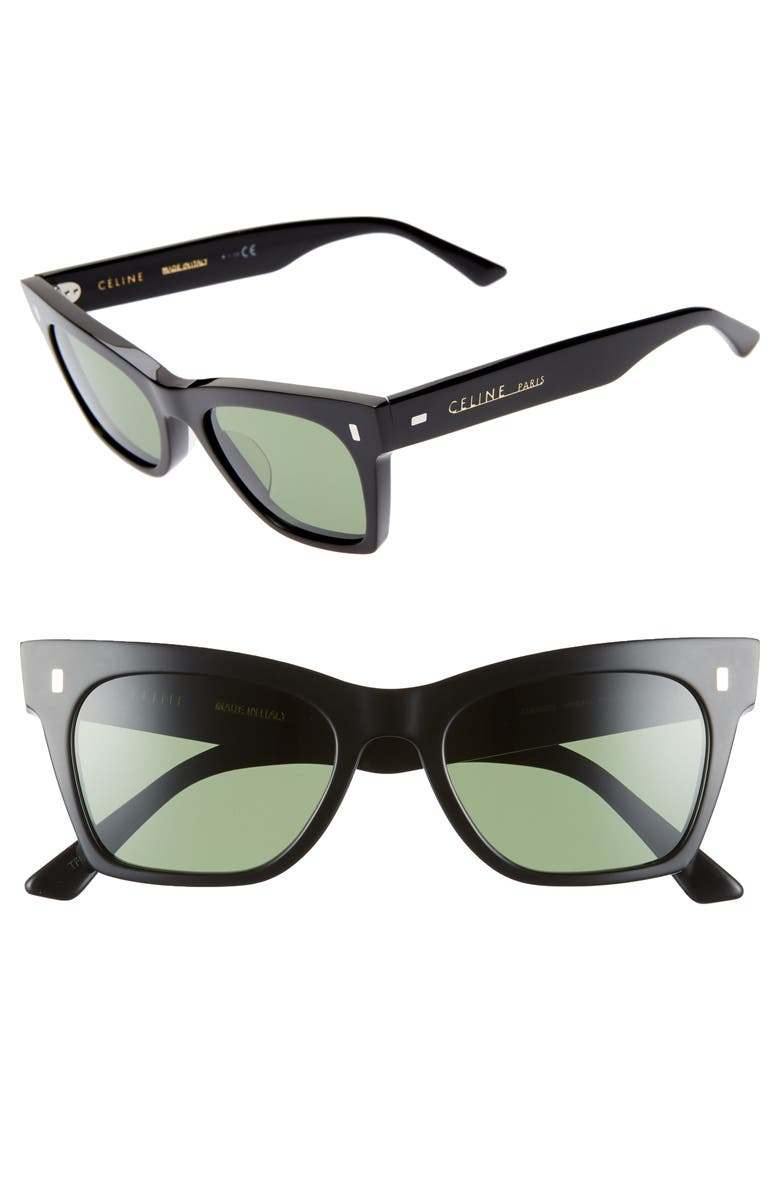 CELINE 51mm Smart Fit Sunglasses, Main, color, SHINY BLACK/ GREEN