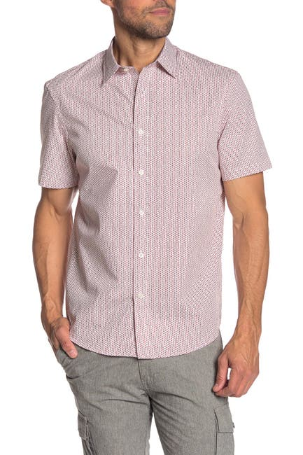 Image of Michael Kors Micro Floral Print Short Sleeve Classic Fit Shirt