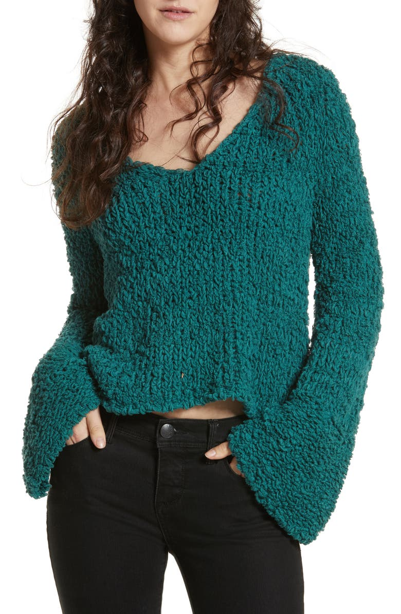 FREE PEOPLE Sand Dune Sweater, Main, color, GREEN