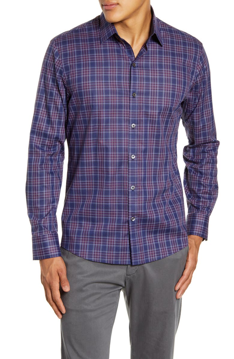 ZACHARY PRELL Rief Regular Fit Plaid Button-Up Shirt, Main, color, NAVY