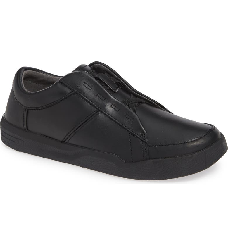 HUSH PUPPIES<SUP>®</SUP> Layden Genius Leather Sneaker, Main, color, BLACK/ BLACK