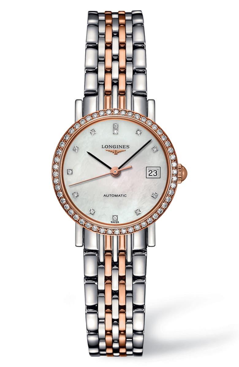 LONGINES Elegant Automatic Diamond Bracelet Watch, 25.5 mm, Main, color, SILVER/ MOP/ ROSE GOLD