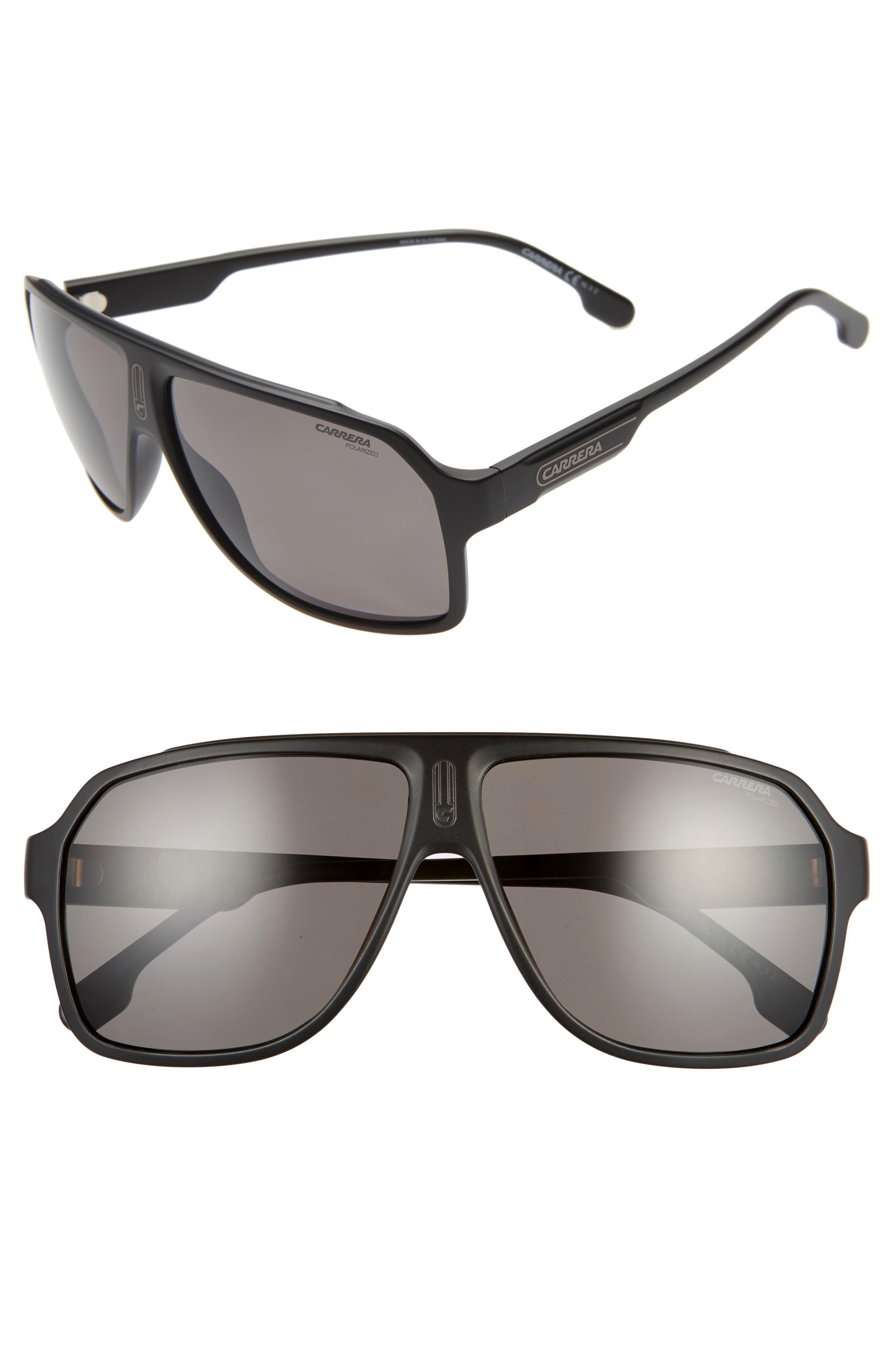 62mm Oversize Polarized Flat Top Aviator Sunglasses