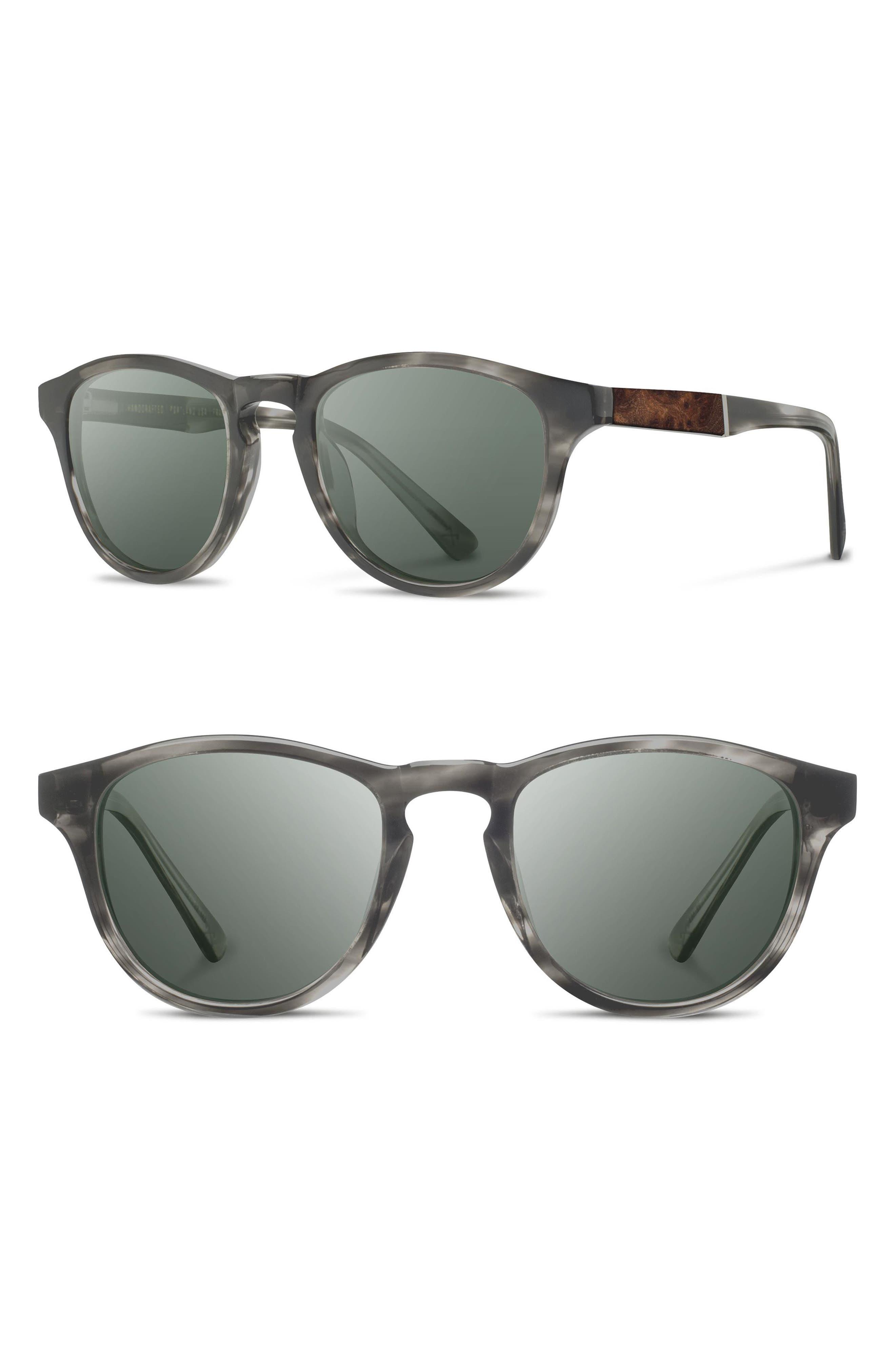 'Francis' 49mm Sunglasses, Main, color, MATTE GREY/ ELM/ G15