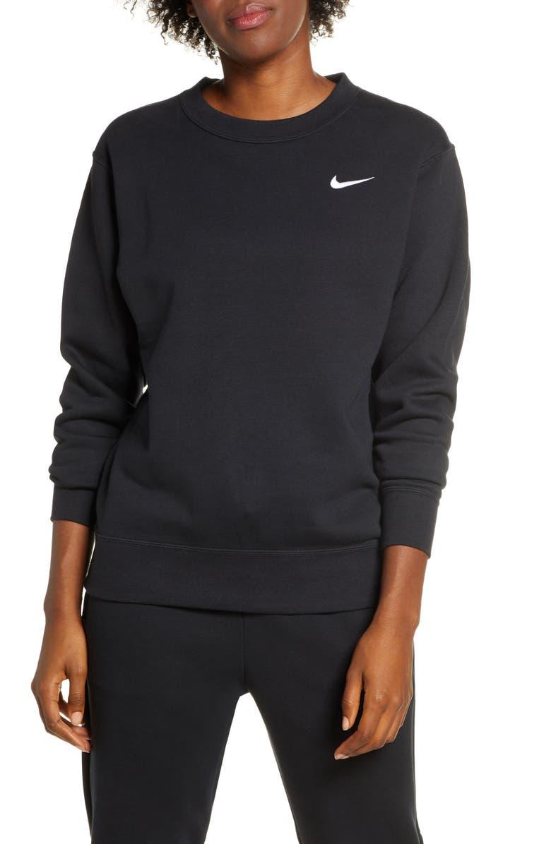 NIKE Sportswear Essential Loose Fit Fleece Sweatshirt, Main, color, BLACK/ WHITE