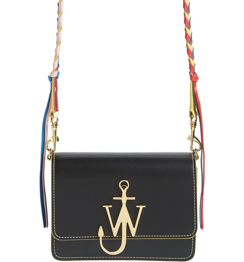 JW ANDERSON Anchor Braided Strap Leather Crossbody Bag, Main, color, 001