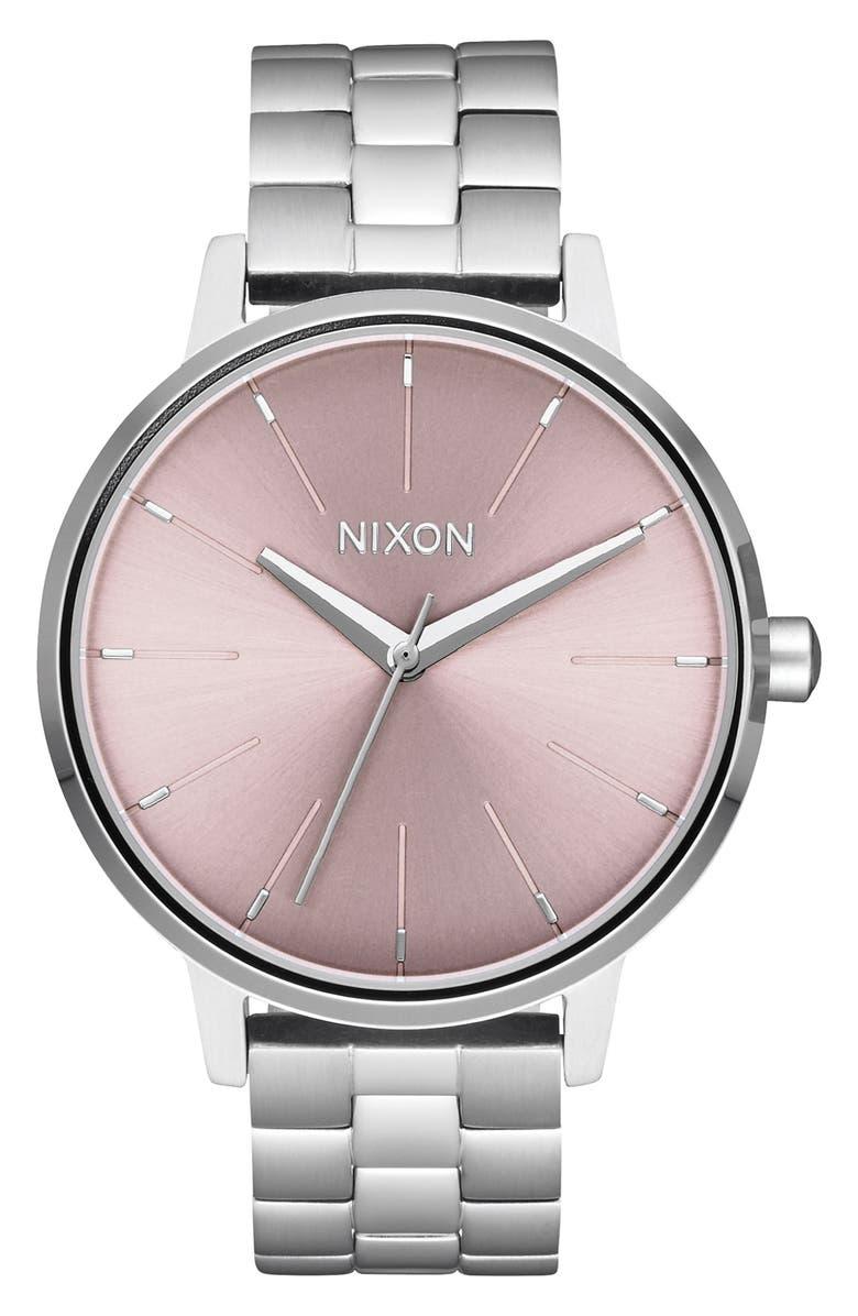 NIXON The Kensington Bracelet Watch, 37mm, Main, color, SILVER/ LAVENDER/ SILVER