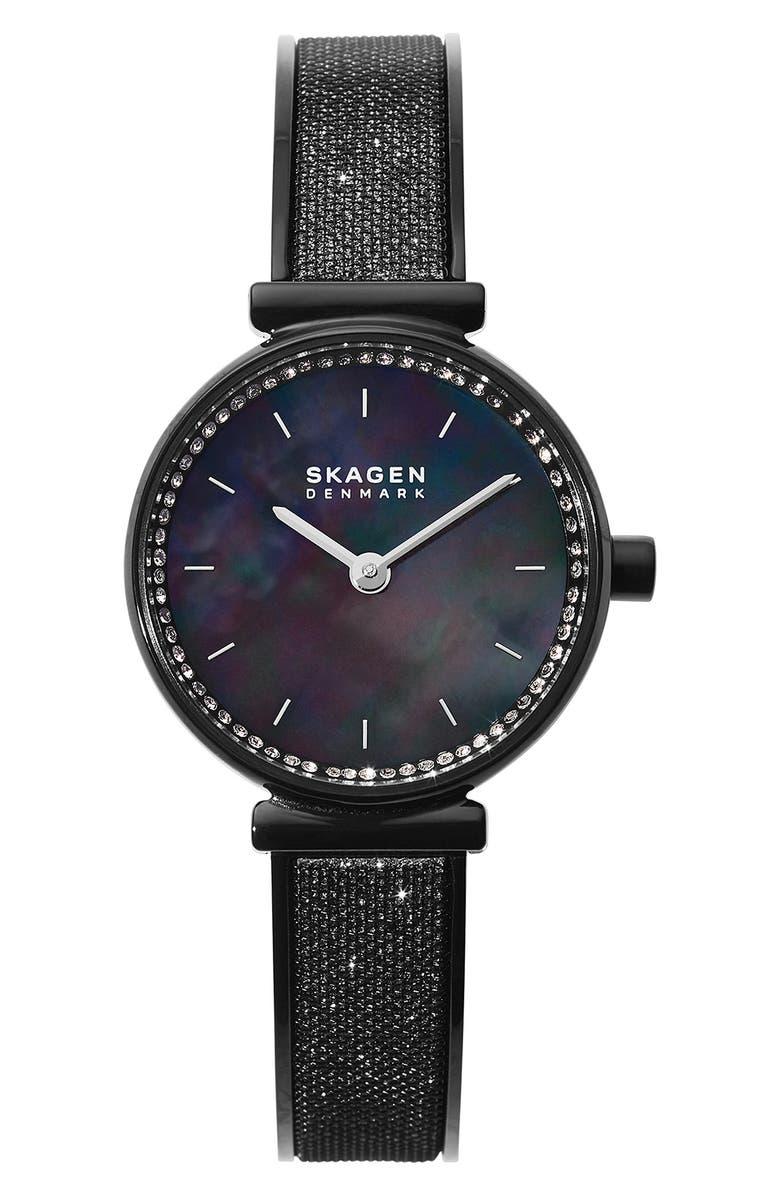 SKAGEN Annelie Leather Strap Watch, 25mm, Main, color, 001