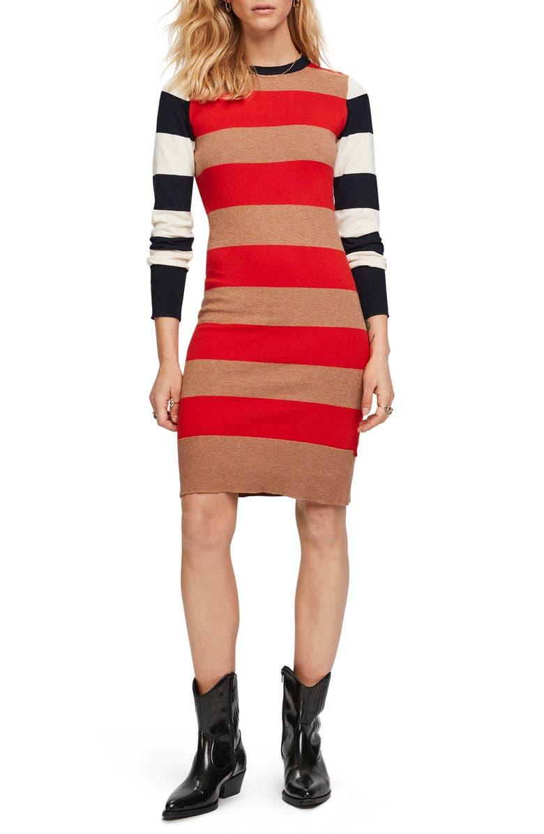 SCOTCH & SODA Stripe Long Sleeve Sweater Dress, Main, color, COMBO A