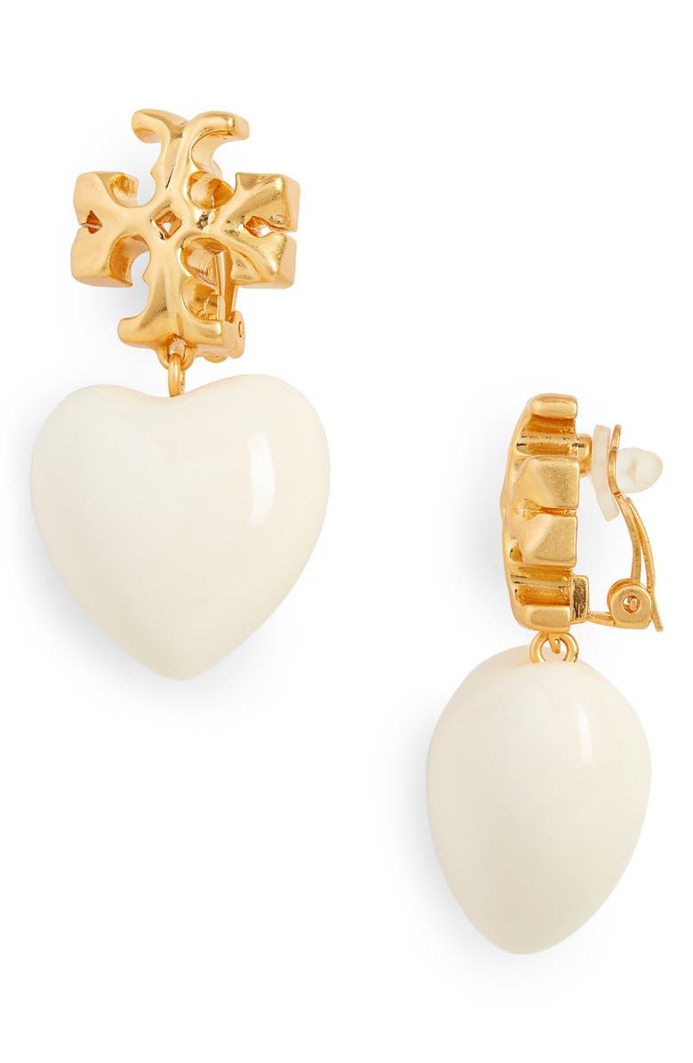 TORY BURCH Roxanne Heart Drop Earrings, Main, color, ROLLED BRASS / NEW IVORY