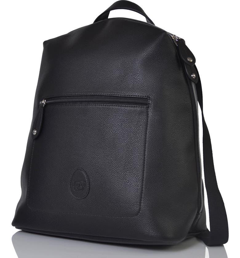 PACAPOD Hartland Faux Leather Convertible Diaper Backpack, Main, color, BLACK