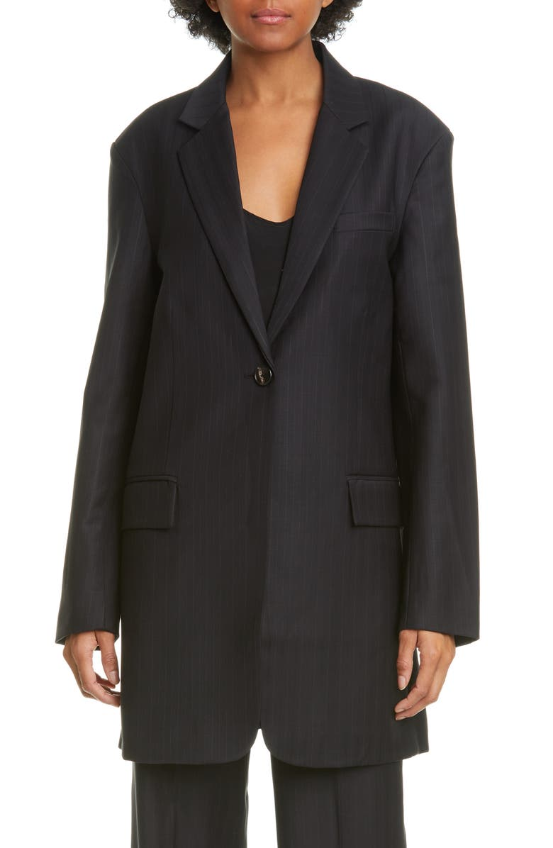 CO Pinstripe Oversize Wool Blend Blazer, Main, color, BLACK