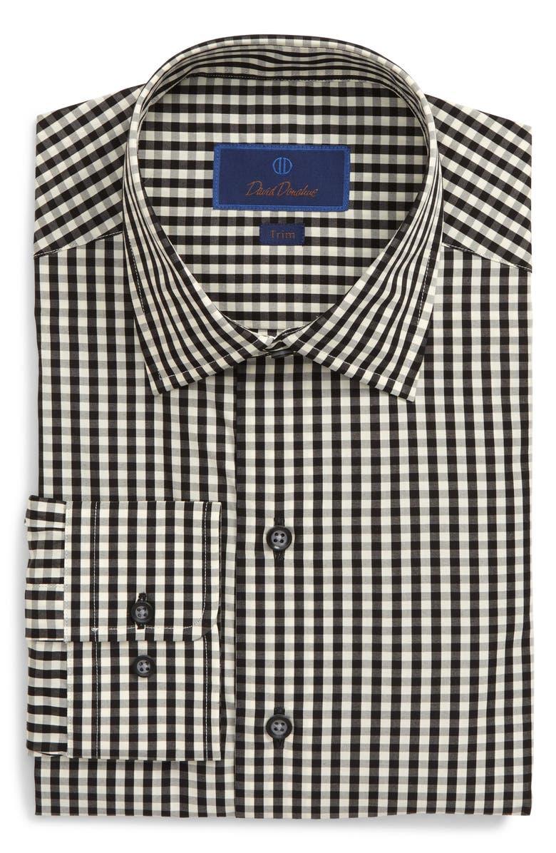 DAVID DONAHUE Trim Fit Check Dress Shirt, Main, color, BLACK
