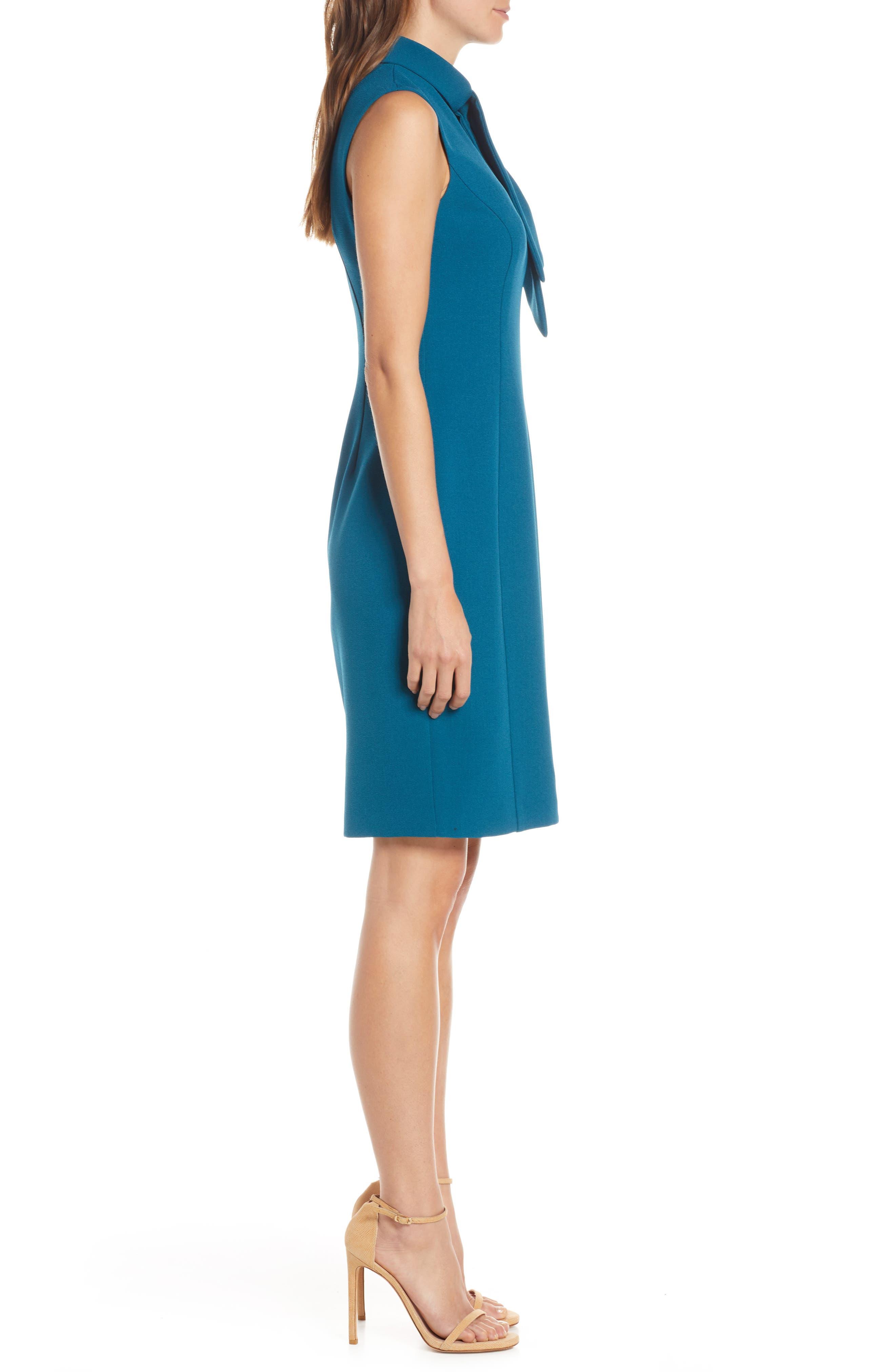 ,                             Tie Neck Sheath Dress,                             Alternate thumbnail 4, color,                             PEACOCK
