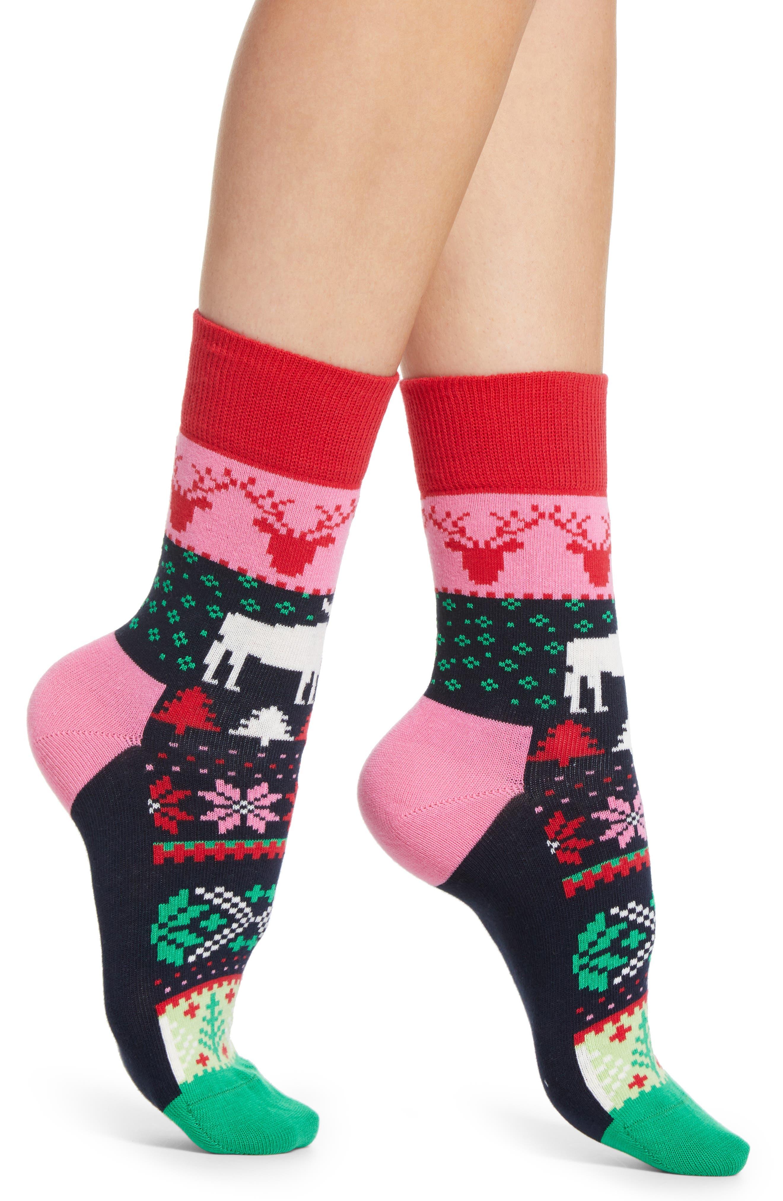 Fair Isle Half Crew Socks