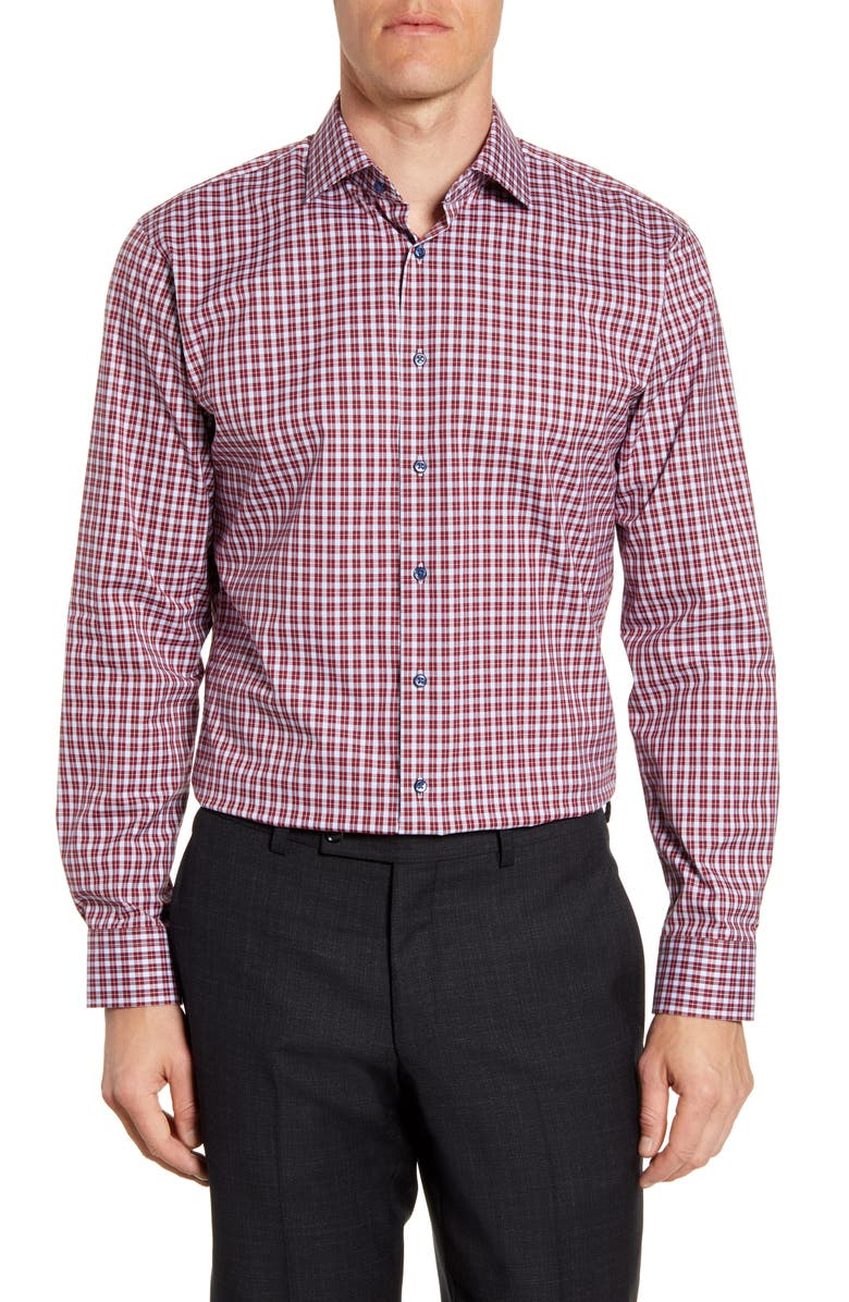 NORDSTROM MEN'S SHOP Trim Fit Stretch Non-Iron Check Dress Shirt, Main, color, BURGUNDY RHODE